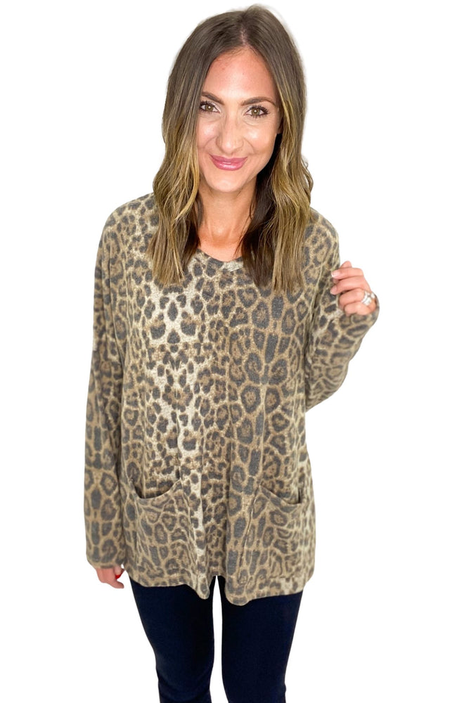 Brushed Animal Print Long Sleeve Top w/ Pockets