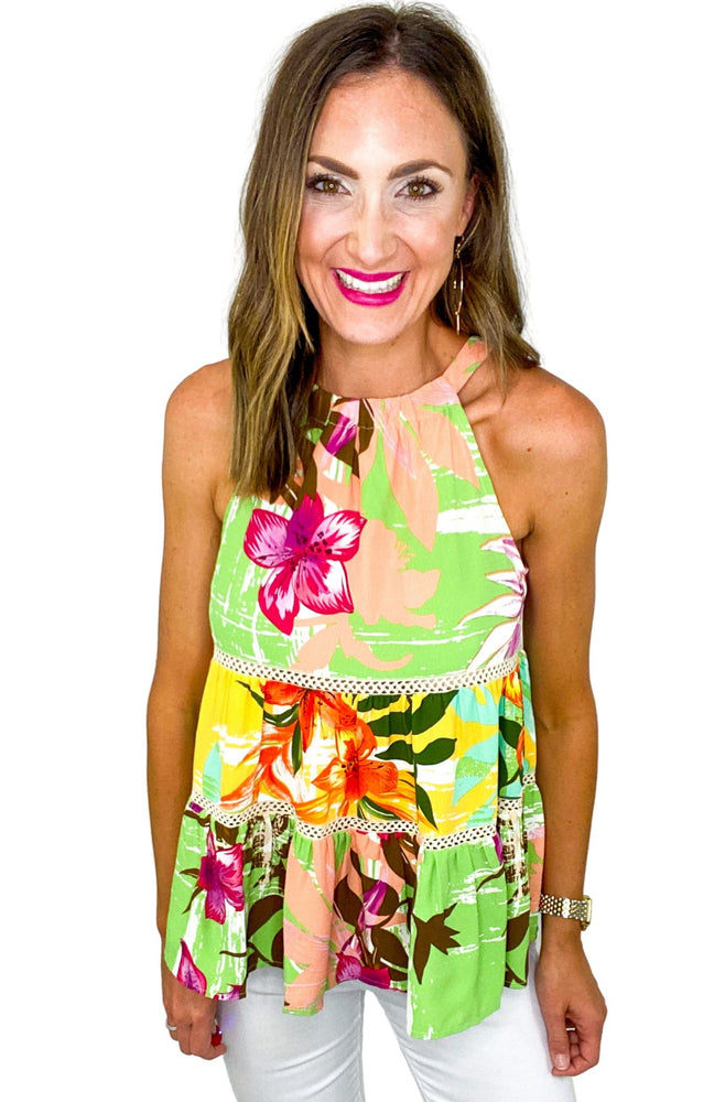 Tropical Print Tiered Halter Top *FINAL SALE*