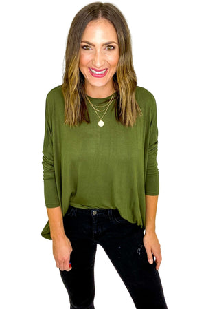 Olive Casual Solid Side Slits Knit Jersey Top