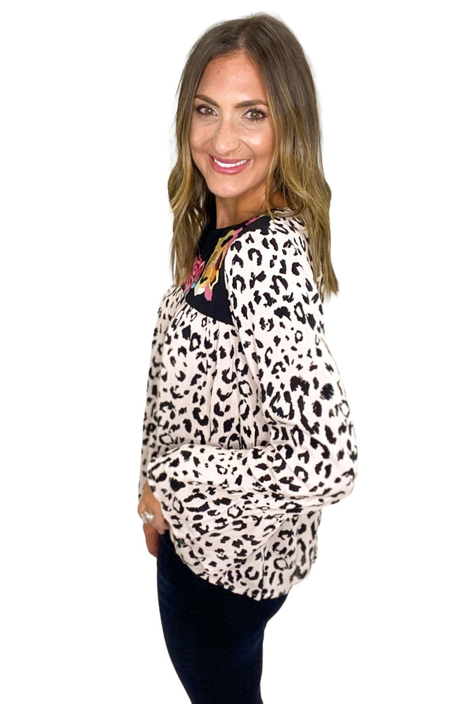 Long Sleeve Blush Animal Print Top w/ Embroidery
