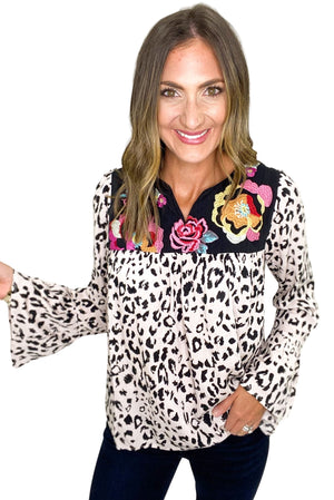 Load image into Gallery viewer, Long Sleeve Blush Animal Print Top w/ Embroidery