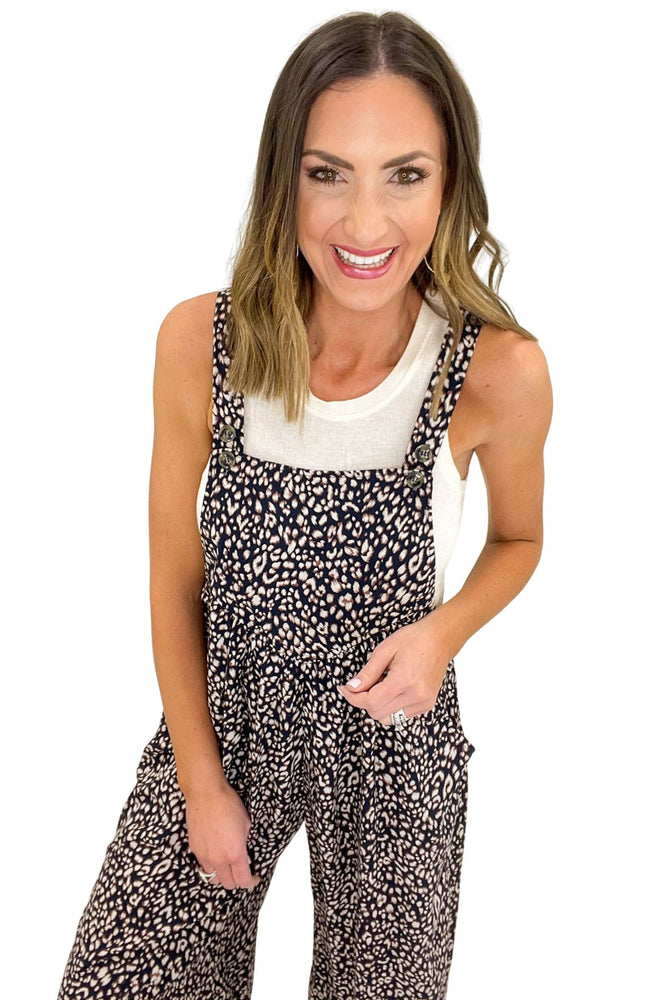 animal print overall jumpsuit, spring fashion, shop style your senses by mallory fitzsimmons