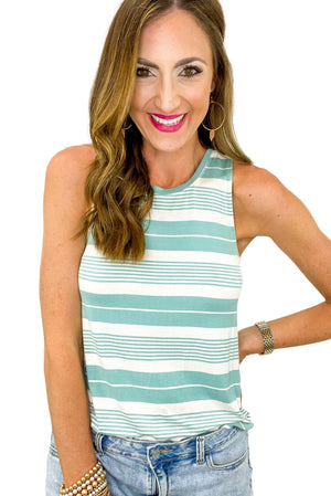 Teal and White Stripe Tank *FINAL SALE*