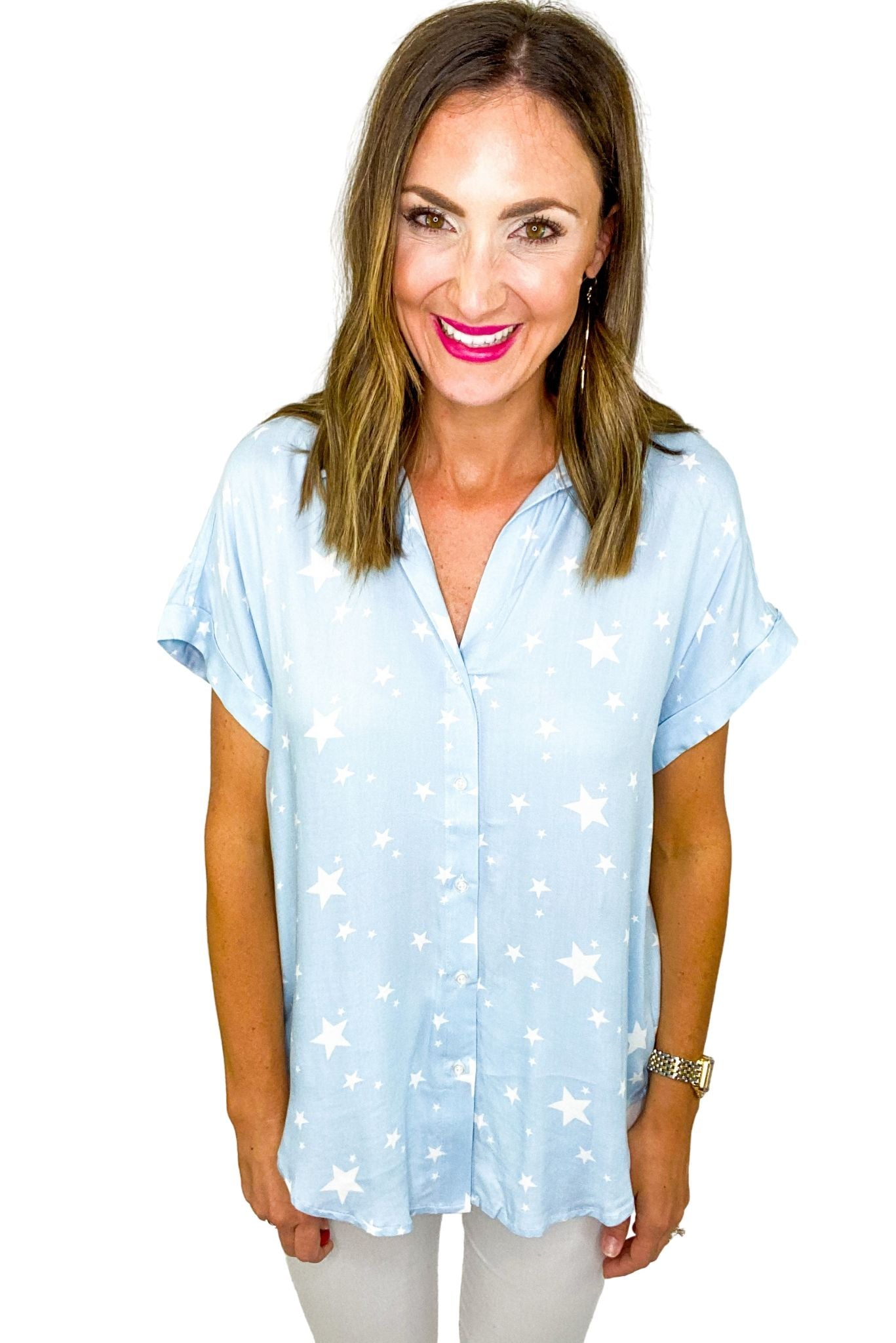 Light Blue Star Print Button Down Top *FINAL SALE*