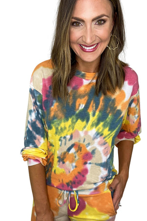 Bold Colorful Tie Dye Pullover
