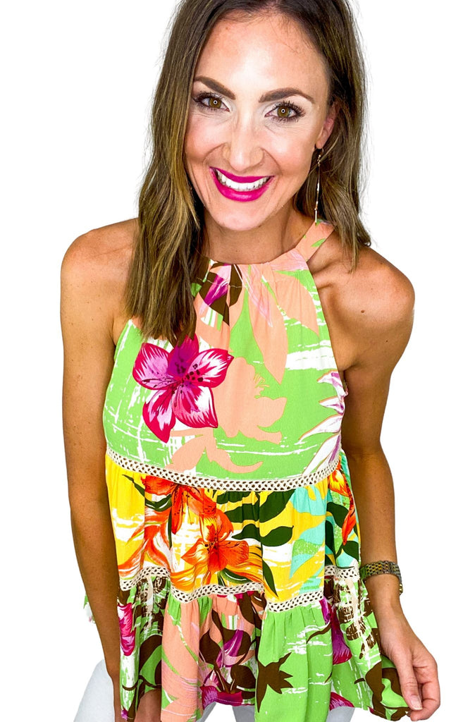 Tropical Print Tiered Halter Top