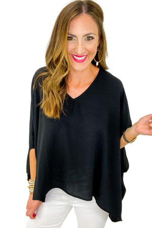 Load image into Gallery viewer, Black V Neck Cloak Sleeve Top *FINAL SALE*