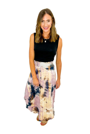Mauve and Navy Tie Dye Skirt w/ Smocked Waist