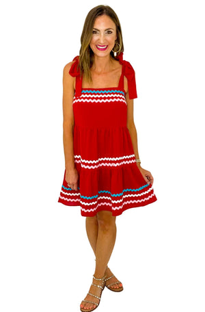 Red Tiered Ric Rac Tie Shoulder Dress *FINAL SALE*