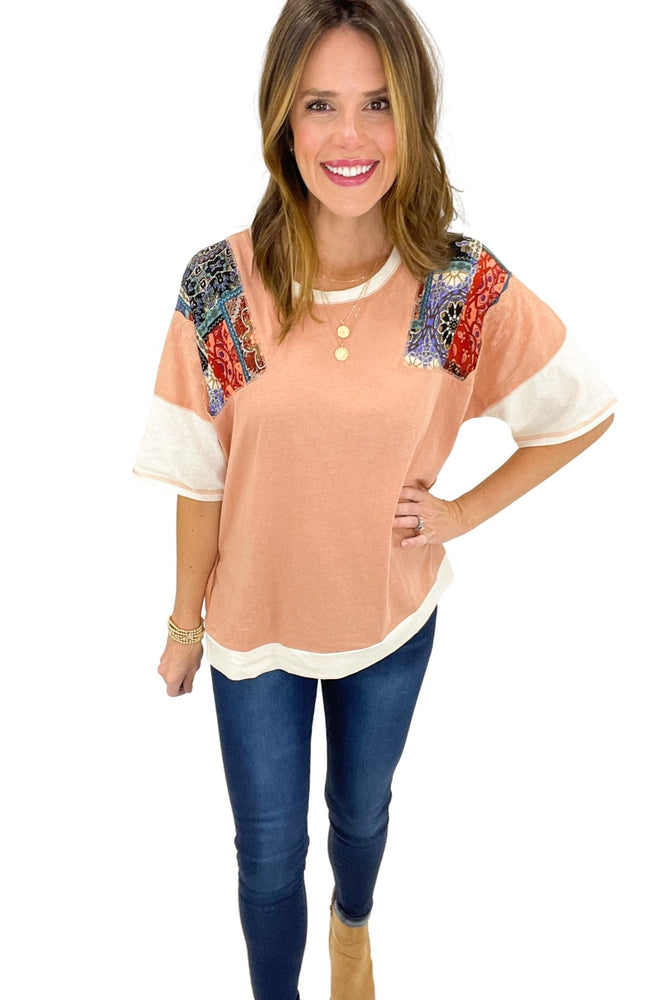 terra cotta top with colorful print sleeves, skinny jeans, spring tops, shop style your senses by mallory fitzsimmons