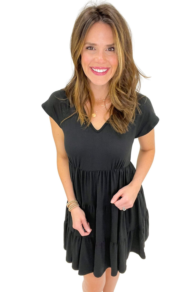 black v neck short sleeve tiered dress, spring dresses, shop style your senses by mallory fitzsimmons