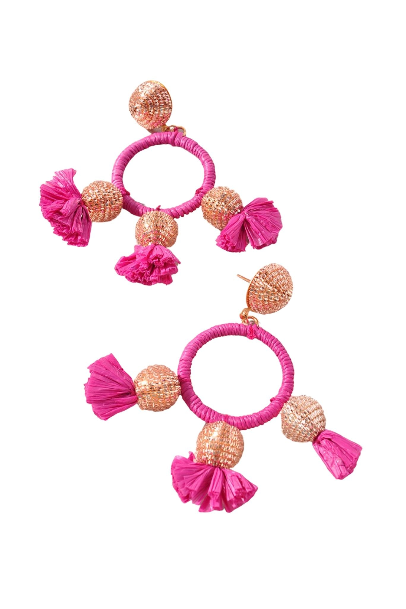 Fuchsia Raffia and Triple Ball Earrings