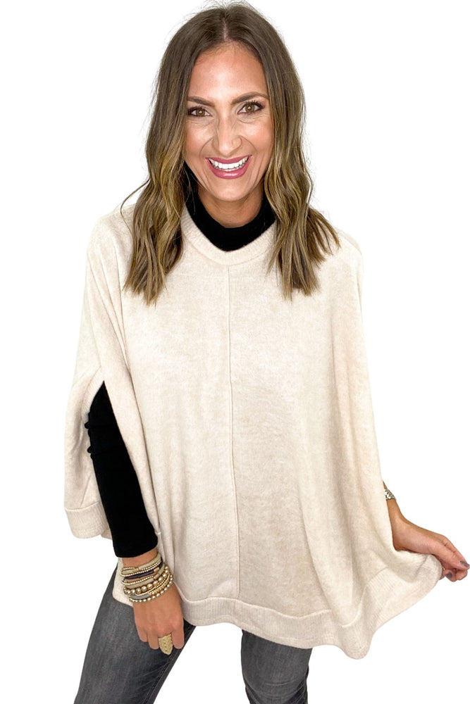 Load image into Gallery viewer, Oatmeal Brushed Poncho w/ Ribbed Hem