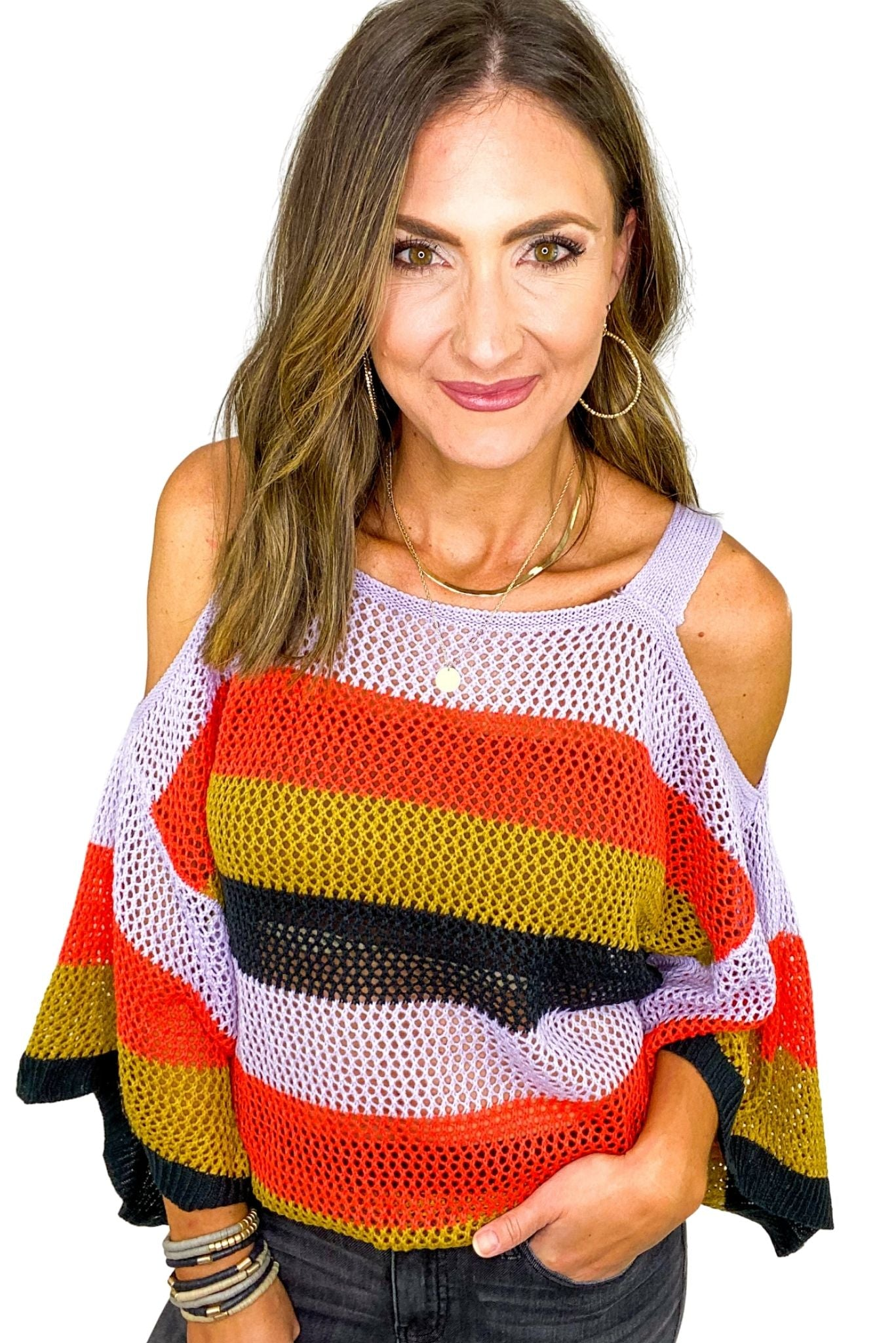 Colorful Stripe Open Weave Cold Shoulder Top