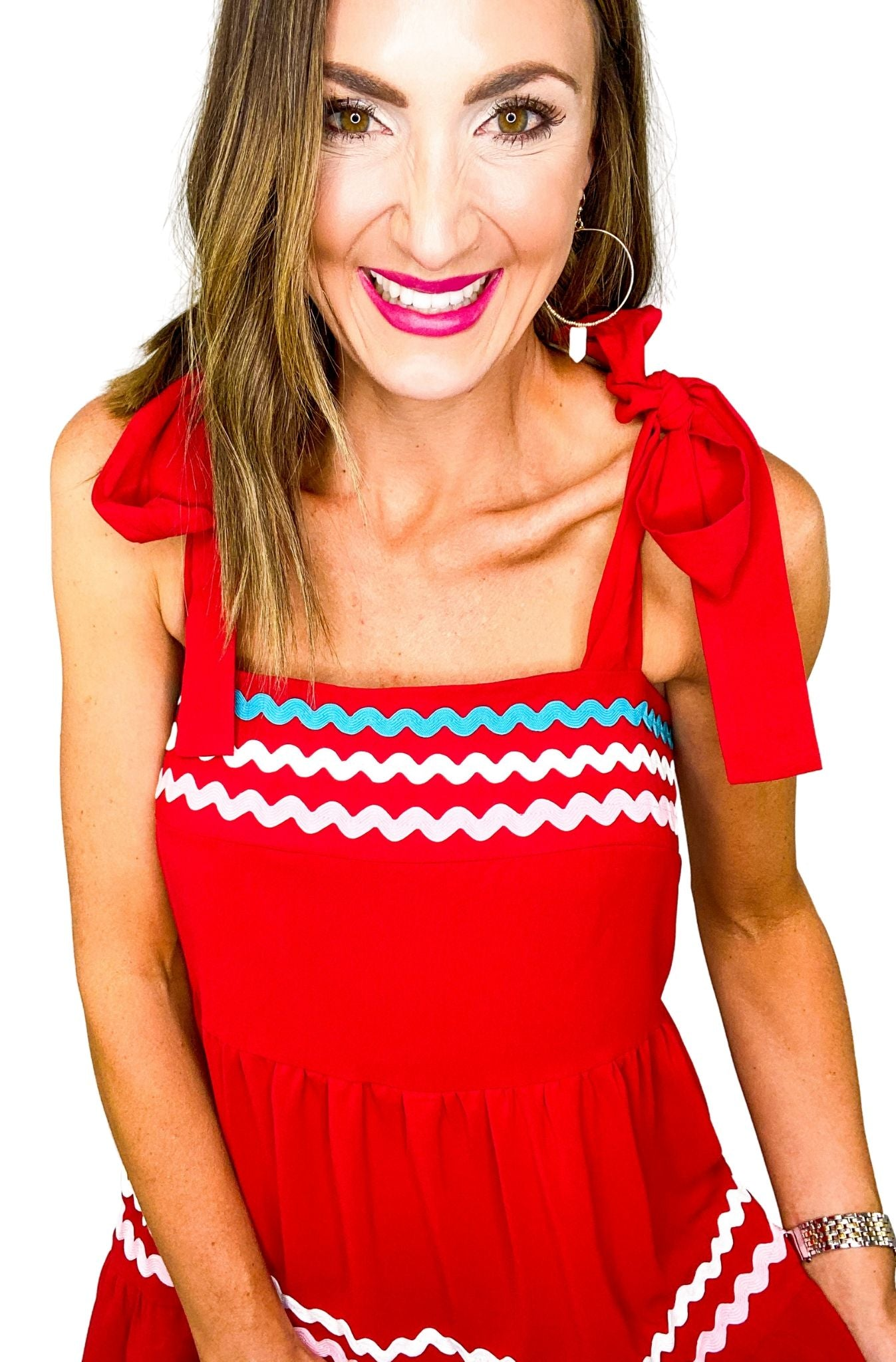 Red Tiered Ric Rac Tie Shoulder Dress