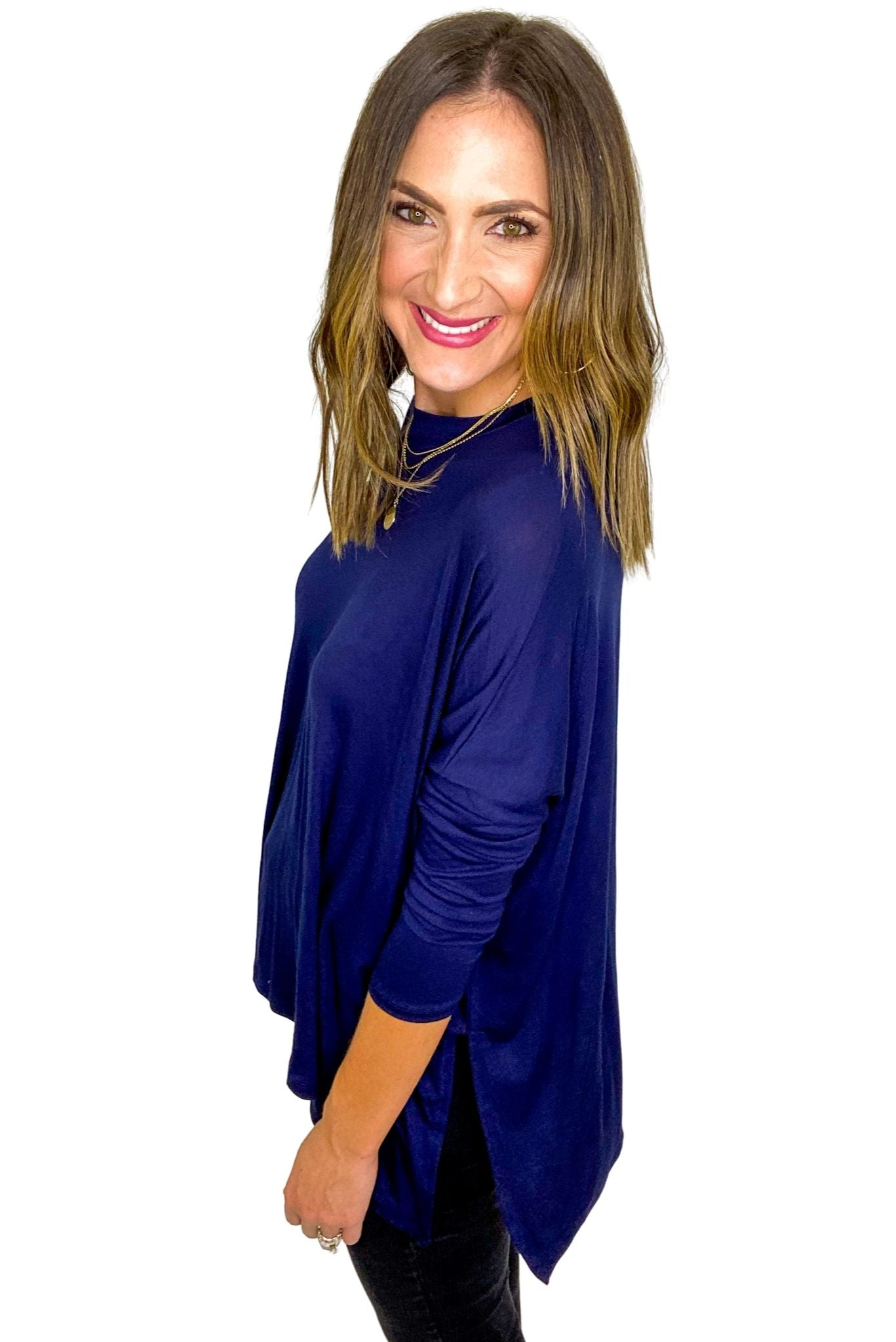 Navy Casual Solid Side Slits Knit Jersey Top