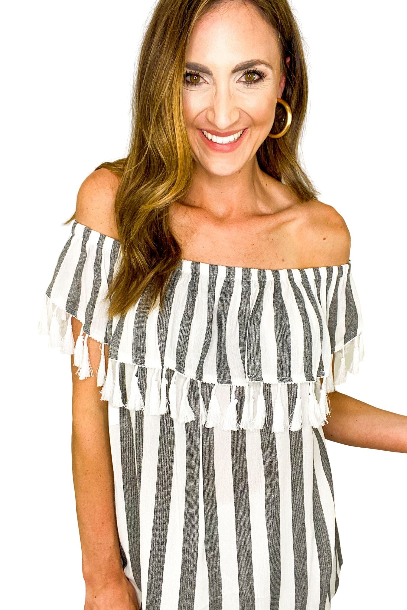 Black and White Striped Off the Shoulder Top w/ Tassels *FINAL SALE*