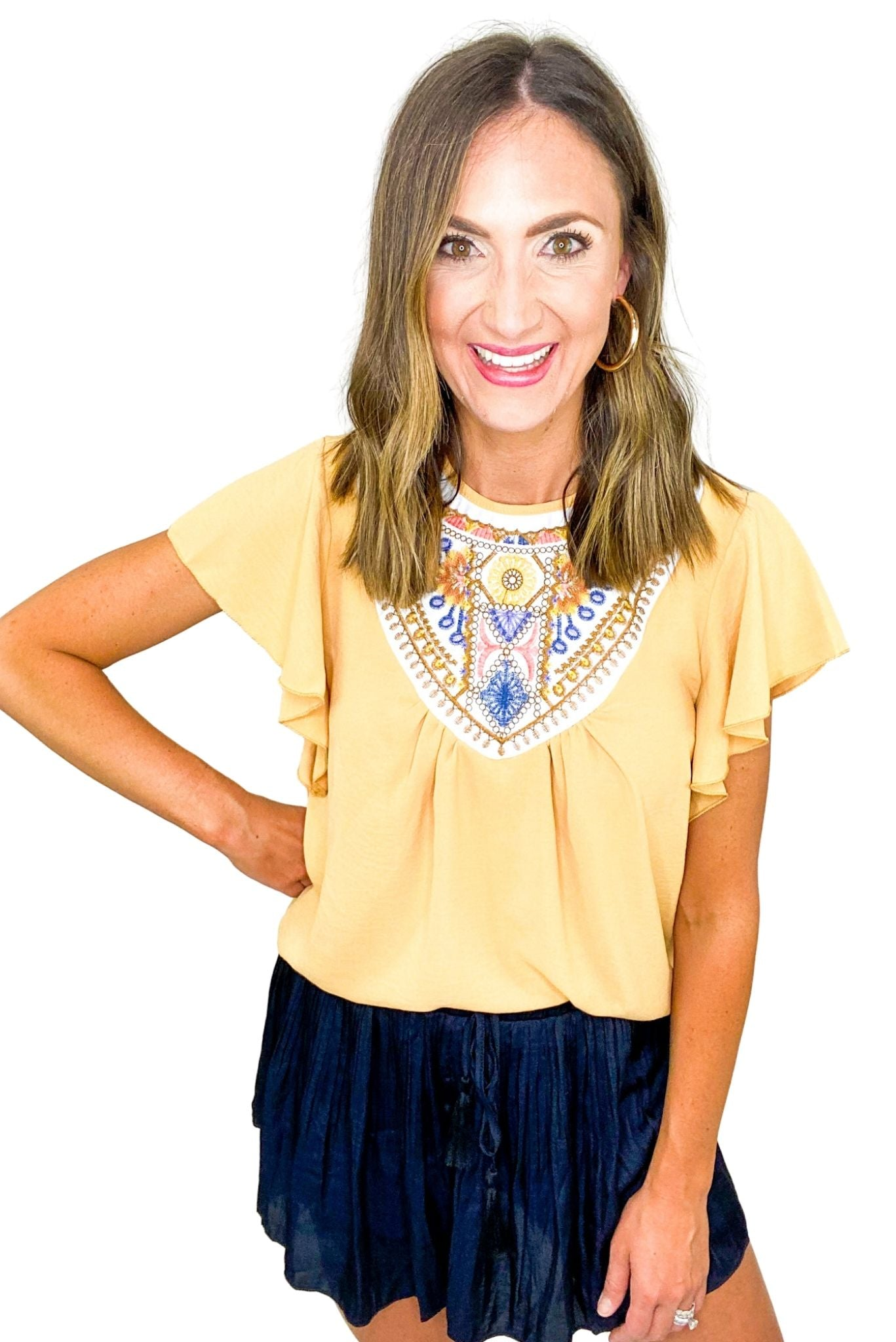 Mustard Embroidered Flutter Sleeve Top