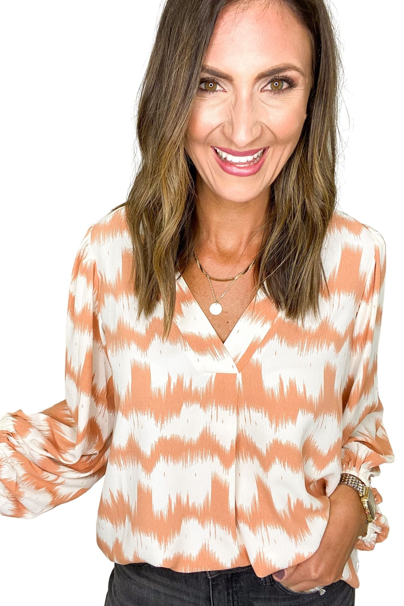 Peach Tie Dye Stripe Balloon Sleeve Top