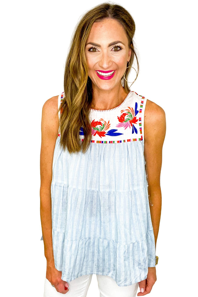 Blue Stripe Tiered Top w/ Embroidered Bib