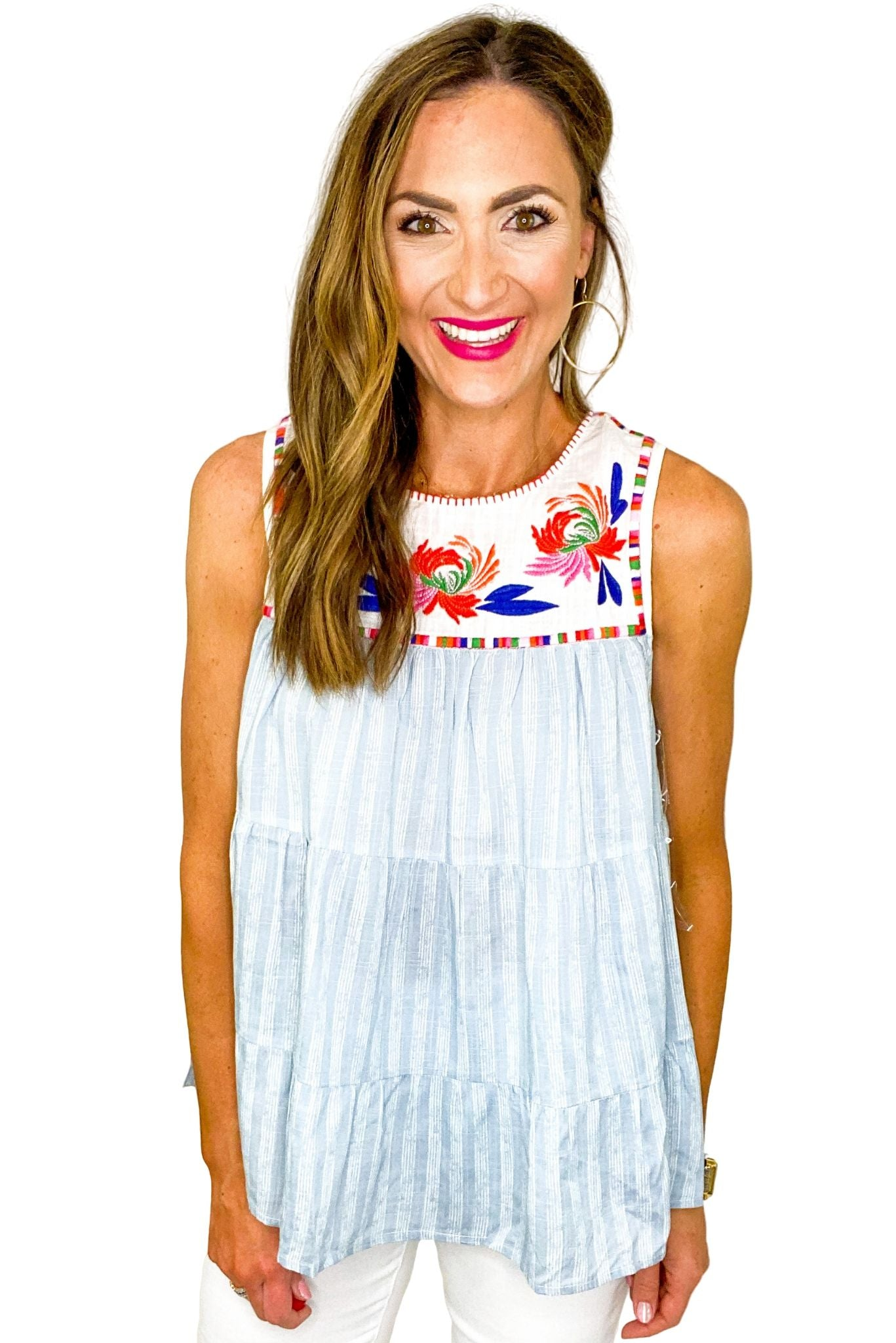 Blue Stripe Tiered Top w/ Embroidered Bib *FINAL SALE*