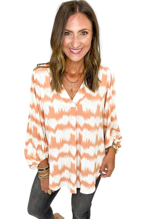 Load image into Gallery viewer, Peach Tie Dye Stripe Balloon Sleeve Top