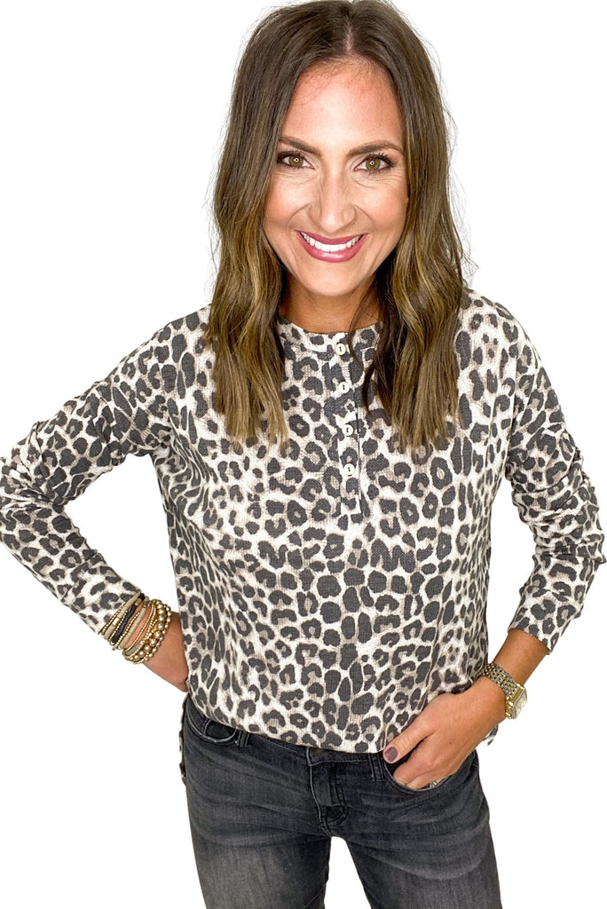 Animal Print Long Sleeve Henley Top