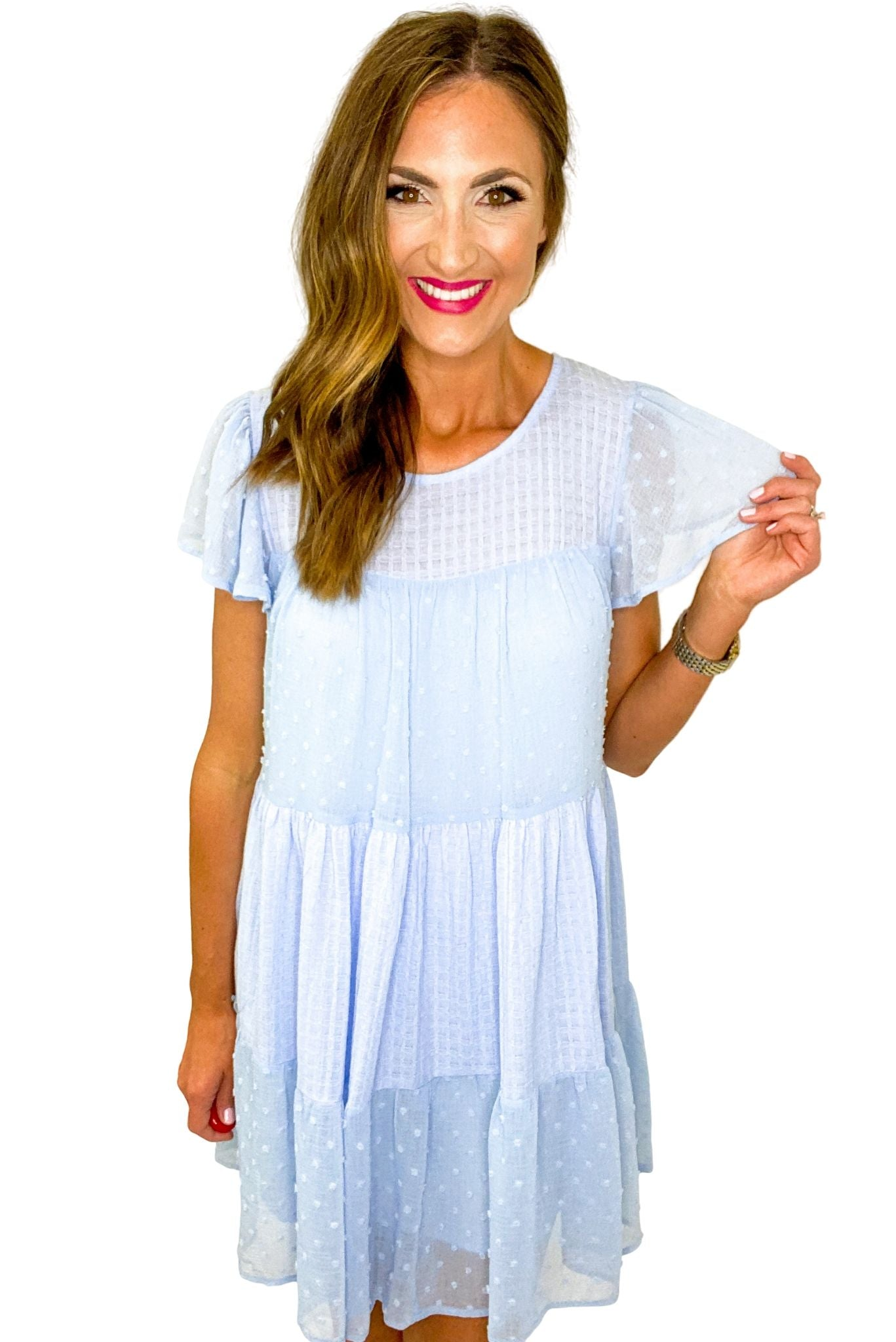 Light Blue Mixed Fabric Tiered Dress *FINAL SALE*