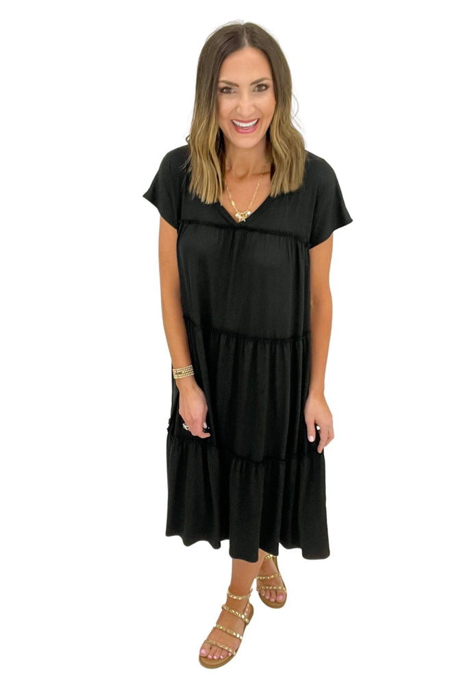 black tiered knit midi dress, spring dresses, shop style your senses by mallory fitzsimmons