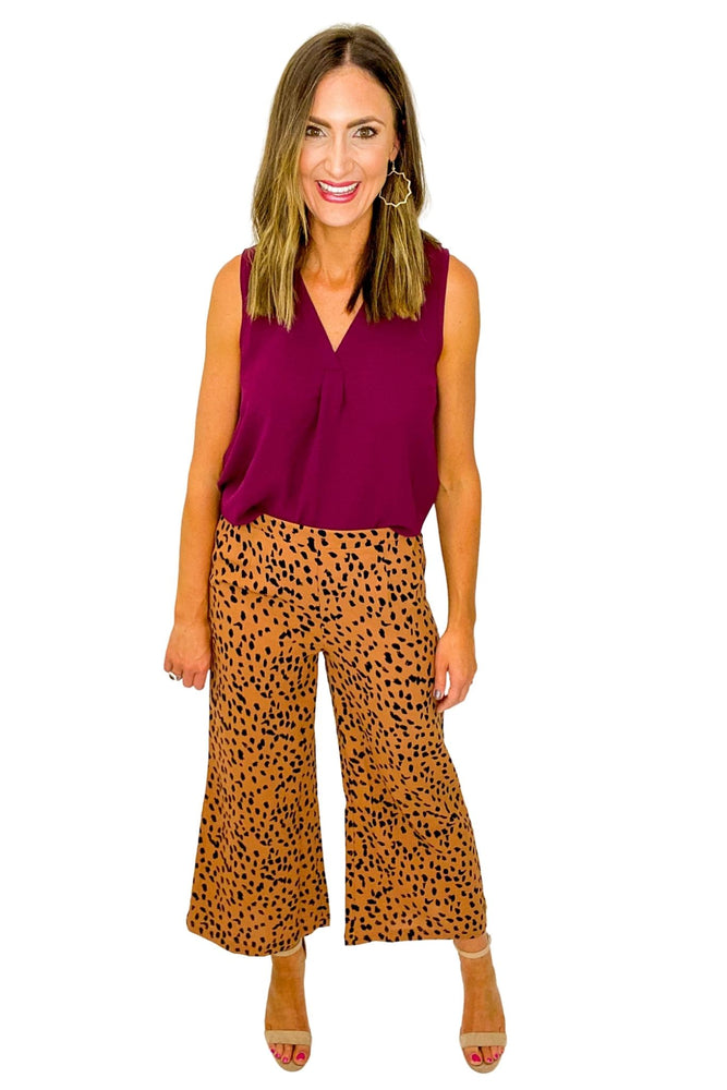 Toffee Spotted Wide Leg Pants