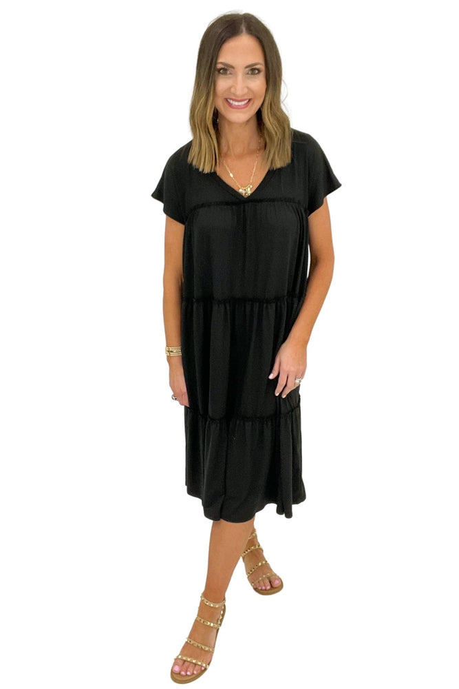 Load image into Gallery viewer, black tiered knit midi dress, spring dresses, shop style your senses by mallory fitzsimmons