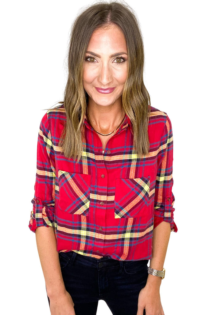 Red Plaid Double Pocket Flannel Top