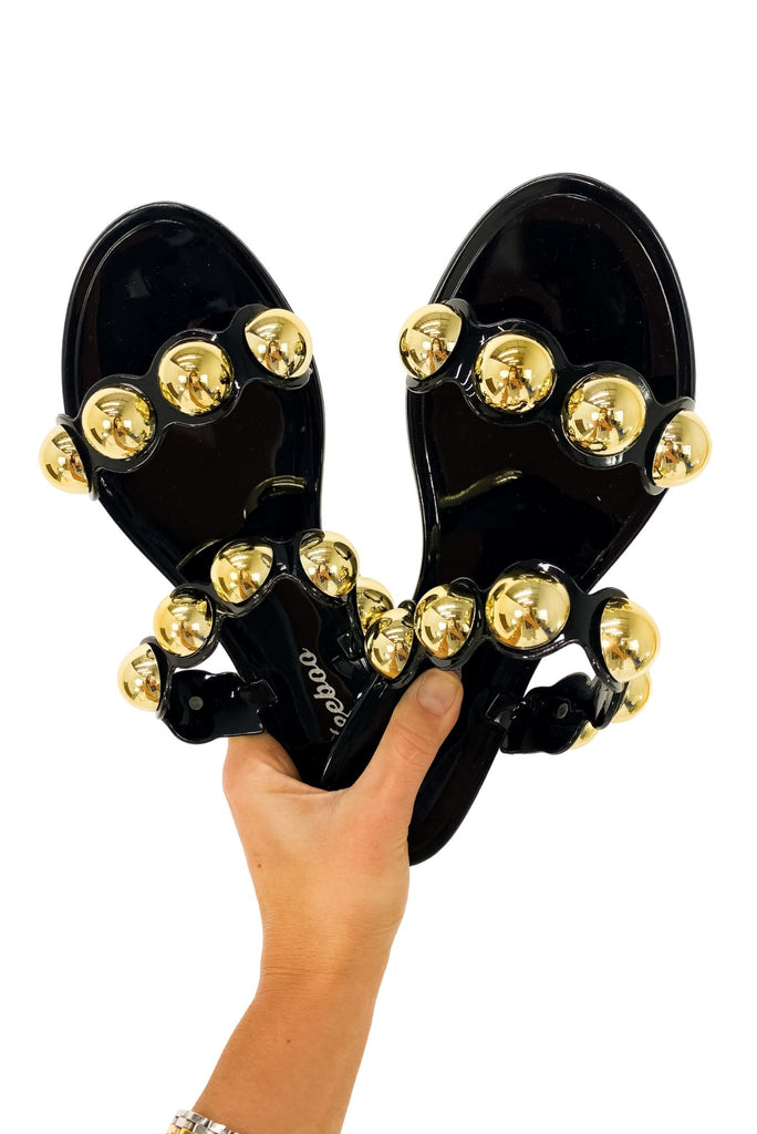 Black Double Strap Jelly Sandals w/ Gold Baubles