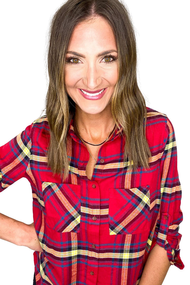 Red Plaid Double Pocket Flannel Top *FINAL SALE*