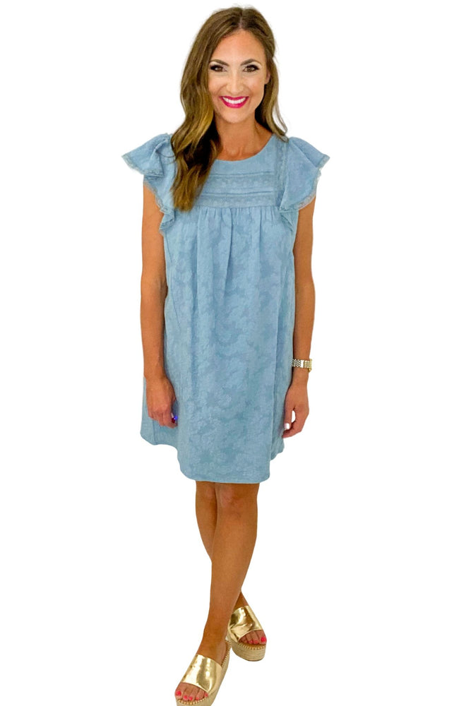Load image into Gallery viewer, Dusty Blue Flutter Sleeve w/ Lace Trim Dress *FINAL SALE*
