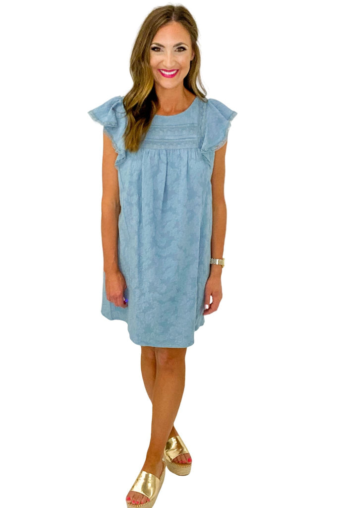Dusty Blue Flutter Sleeve w/ Lace Trim Dress *FINAL SALE*