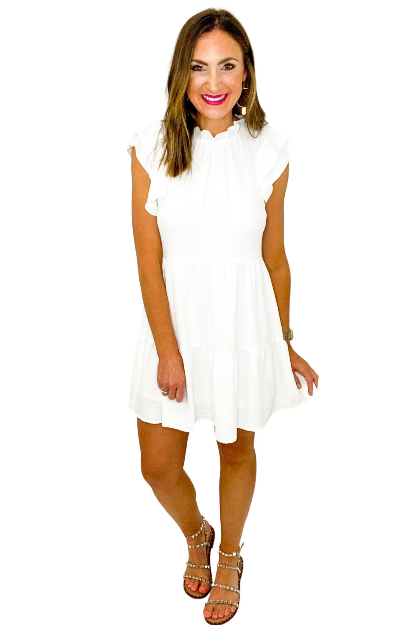 White High Neck Ruffle Sleeve Dress