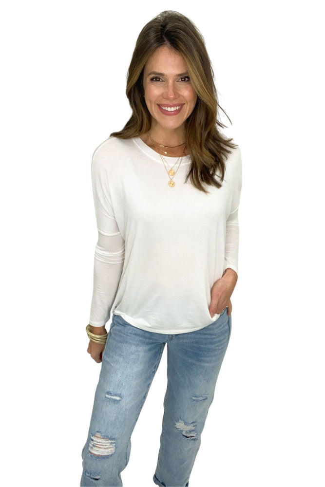 off white long sleeve jersey knit top, boyfriend jeans, spring tops, shop style your senses by Mallory Fitzsimmons