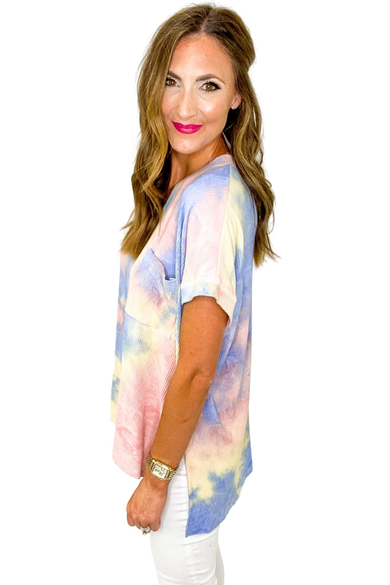 Ribbed Tie Dye Oversized Top