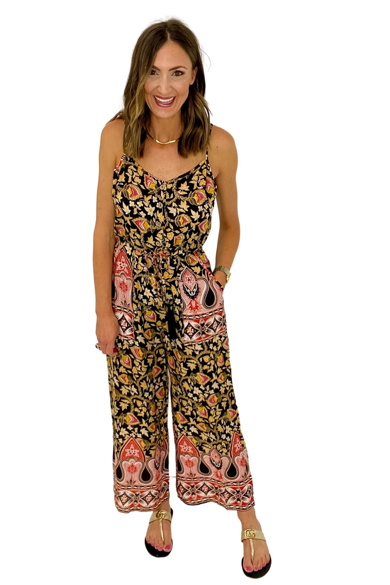 Black Floral Print Strappy Jumpsuit *FINAL SALE*