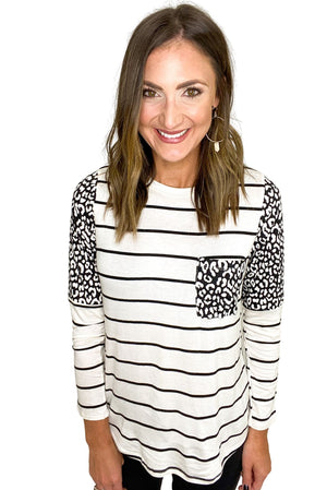 Ivory Stripe Top w/ Animal Print Accents *FINAL SALE*