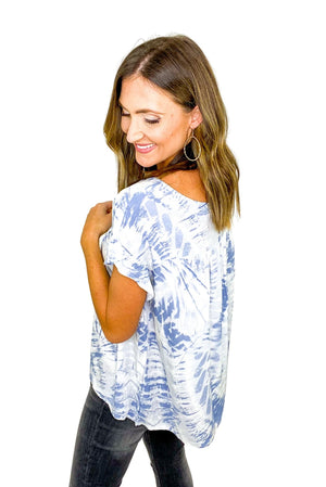 Load image into Gallery viewer, Blue Tie Dye Ruffle Sleeve Top *FINAL SALE*