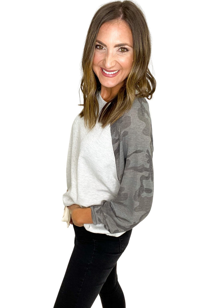 Grey Top w/ Camo Long Sleeves
