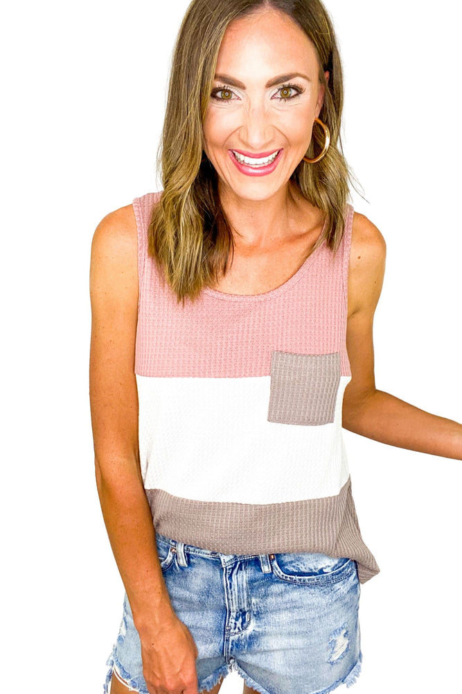 Load image into Gallery viewer, Waffle Knit Color Block Tank w/ Pocket *FINAL SALE*