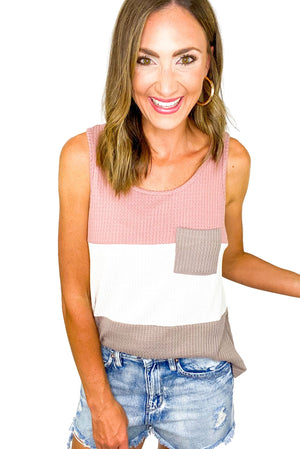 Waffle Knit Color Block Tank w/ Pocket *FINAL SALE*