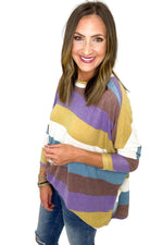 Multi Color Stripe Brushed Oversized Top *FINAL SALE*