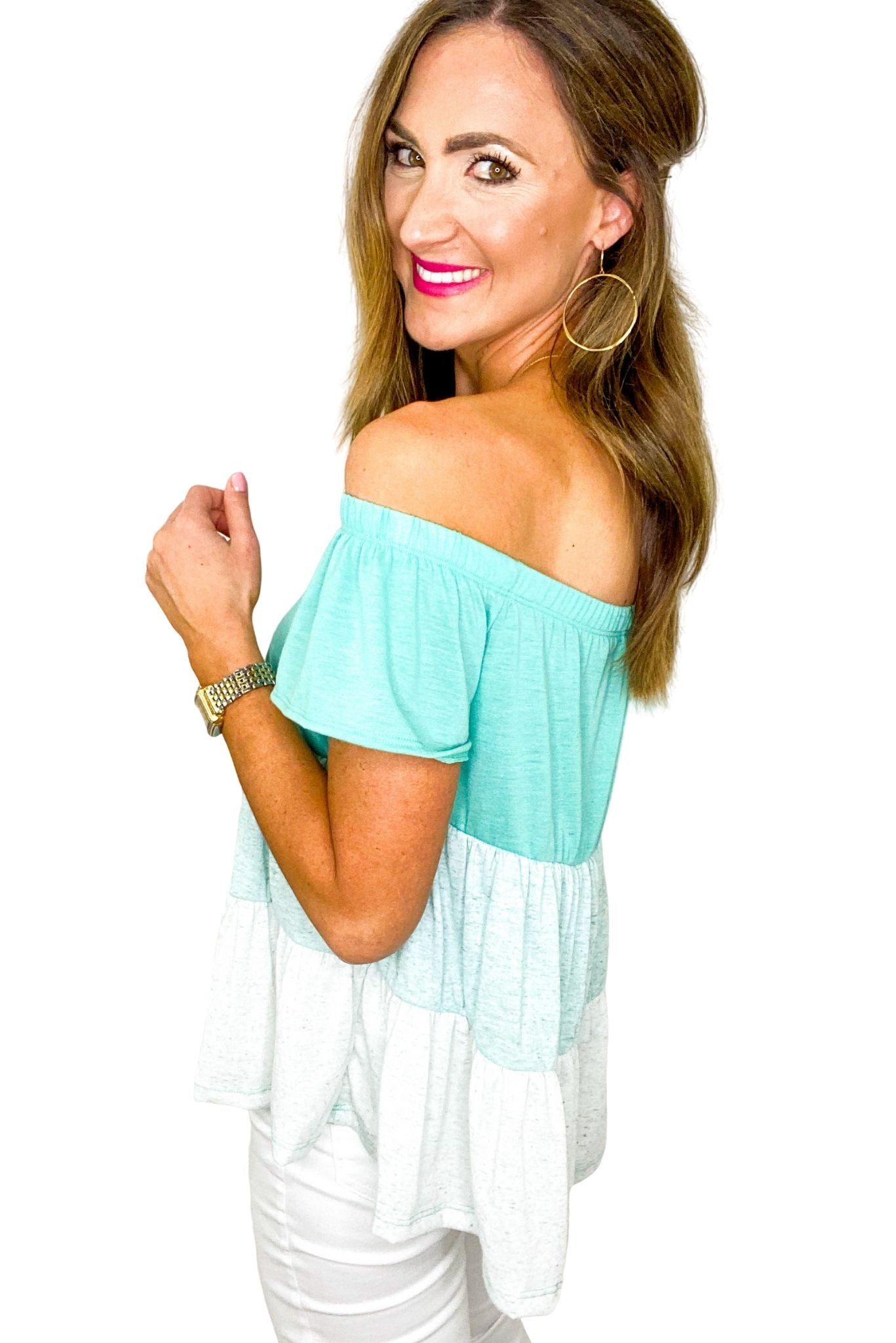 Seafoam Ombre Off the Shoulder Top *FINAL SALE*