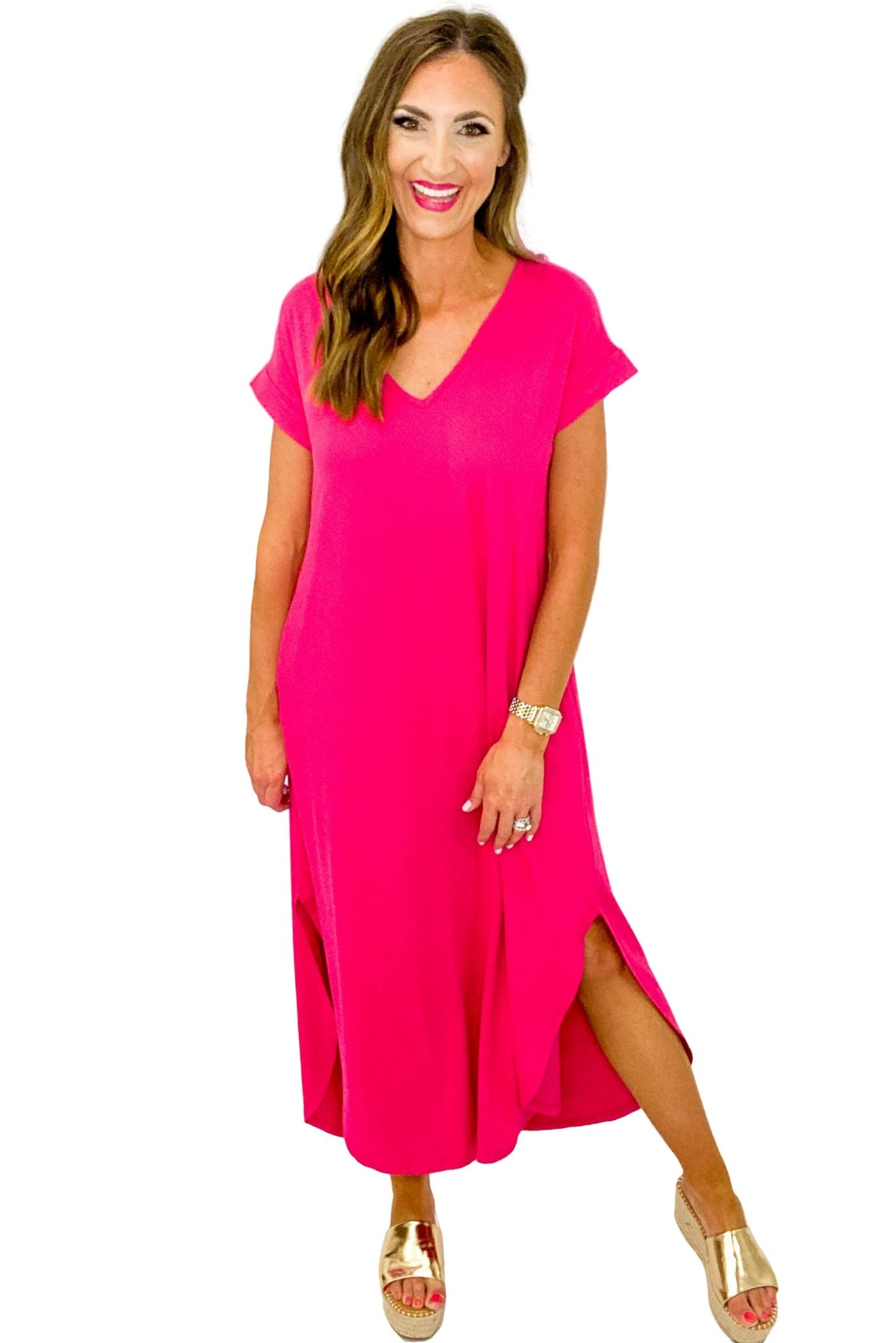 Hot Pink Jersey Knit Maxi Dress