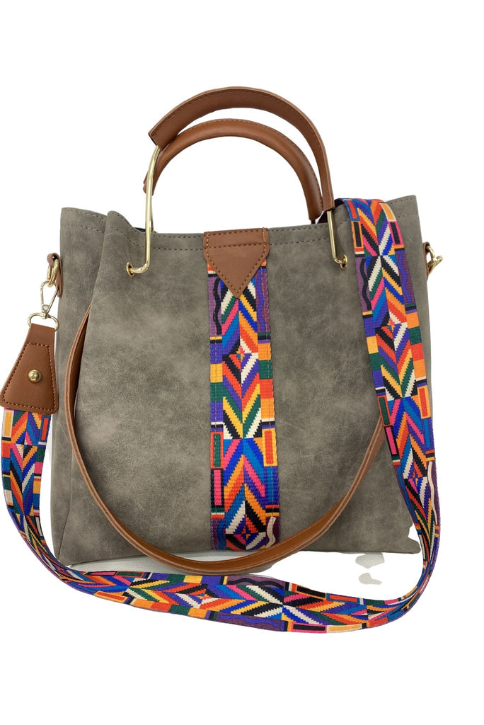 Grey Purse Set w/ Colorful Strap