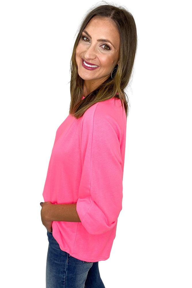 Load image into Gallery viewer, Neon Pink Balloon Sleeve Pullover